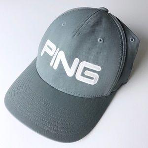 PING Flex Fit Gray Golf Hat Size L XL
